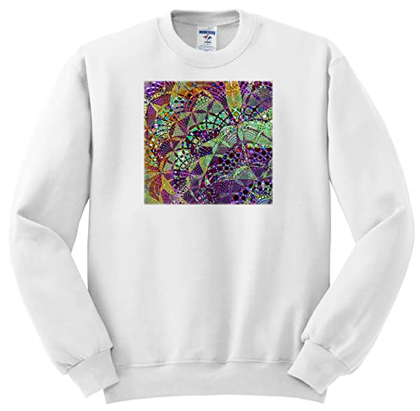Fractal Abstracts Image Of Fractal Interwoven Mosaic In Purple Green Orange S T Shirt