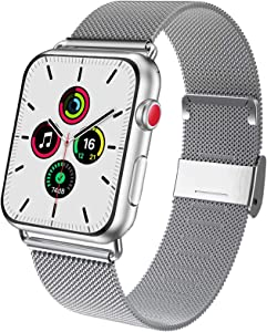 ADWLOF Compatible for Apple Watch Bands 42mm 44mm, Stainless Steel Mesh Magnetic Sport Wristband Loop Strap Replacement Band for iWatch Series 6/5/4/3/2/1/SE,Silver