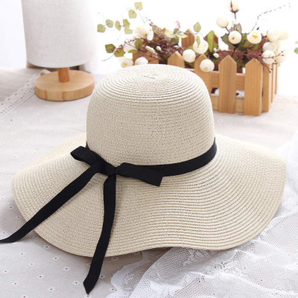 Beige JINRMP Summer Straw Hat Women Big Wide Brim Beach Hat Sun Hat Foldable Sun Block Uv Predection Hat Bone Chapeu Feminino