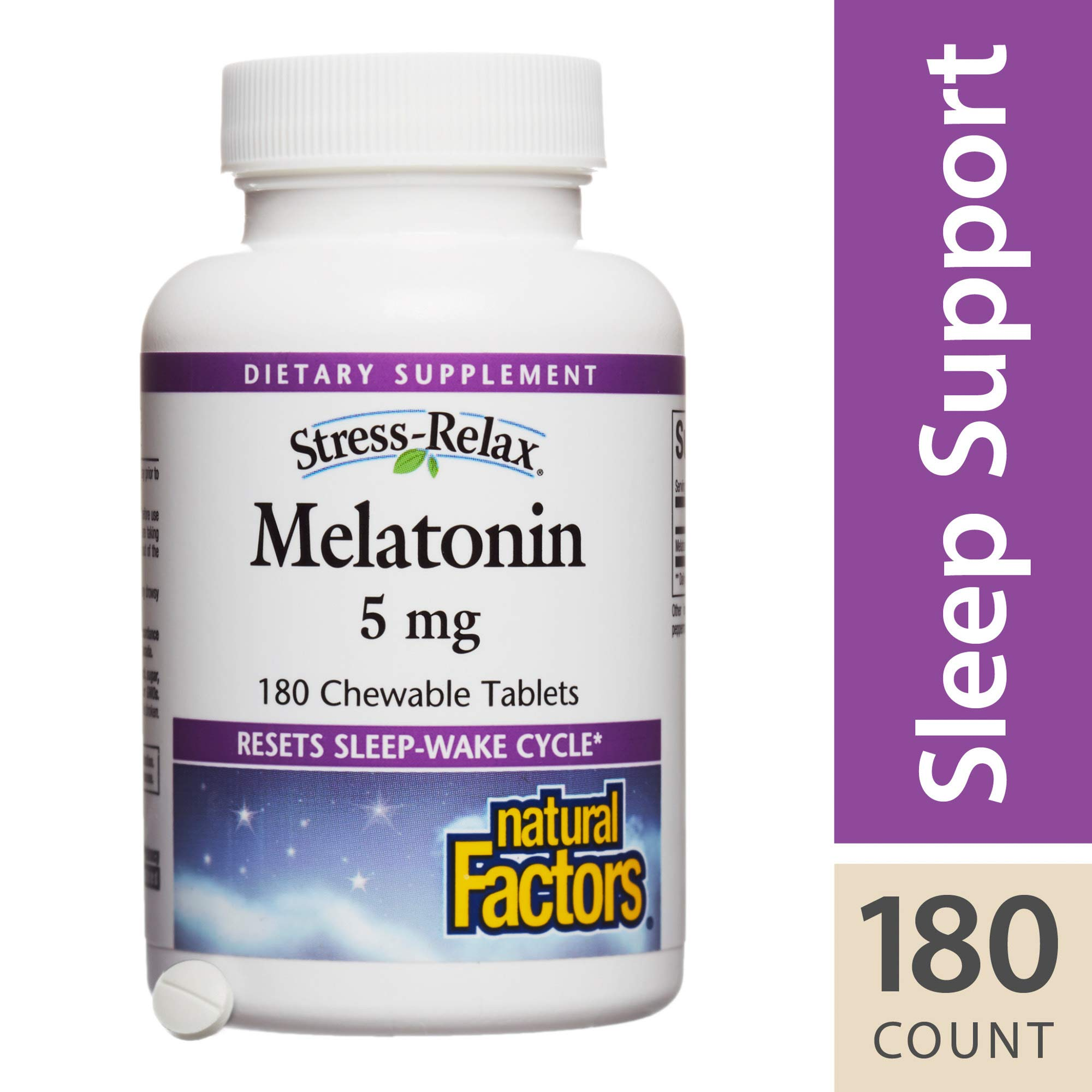 Stress-Relax by Natural Factors, Melatonin 5 mg Chewable, Sleep Aid Without Drowsy