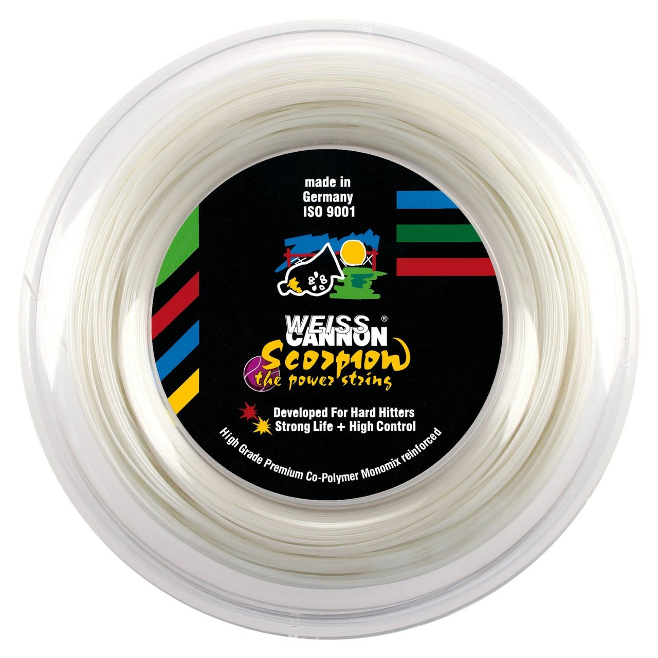Weiss Cannon Scorpion Tennis String - 1.33mm/16 (White) 660ft - 200m Reel - The Power String