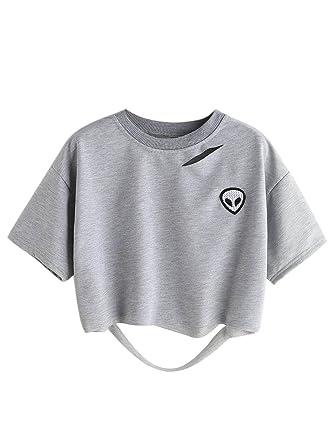 af8df0a27132ac Choies Women s Ripped Crop Top Gray Alien Patch Short Sleeve Crop T-Shirt S