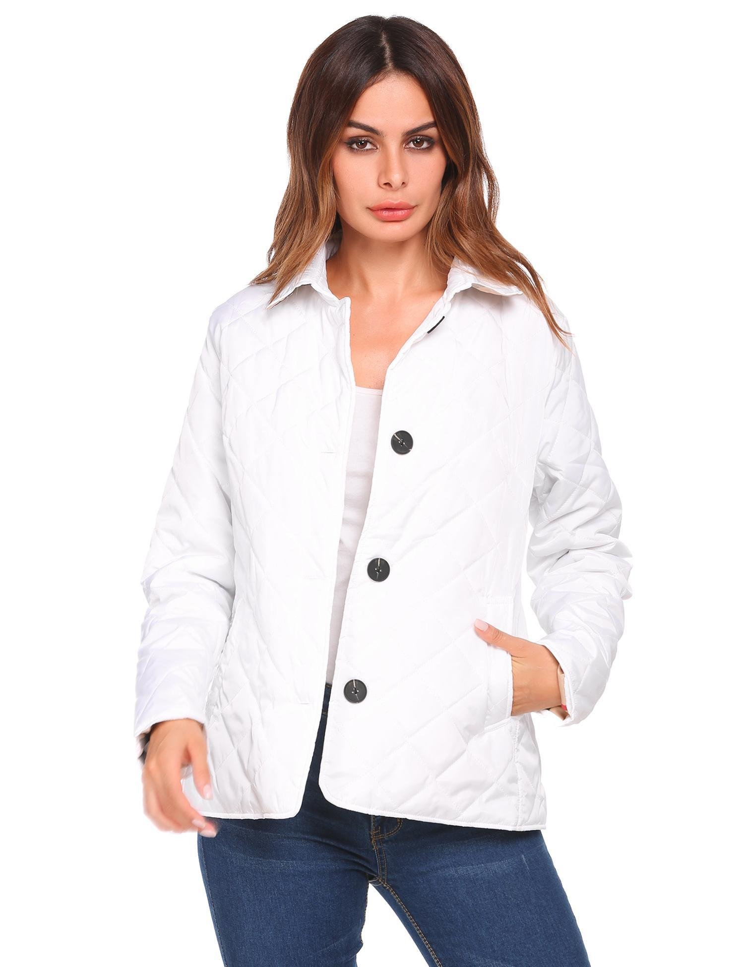Soteer Women's Diamond Quilted Jacket Stand Collar Button End with Pocket Coat White S