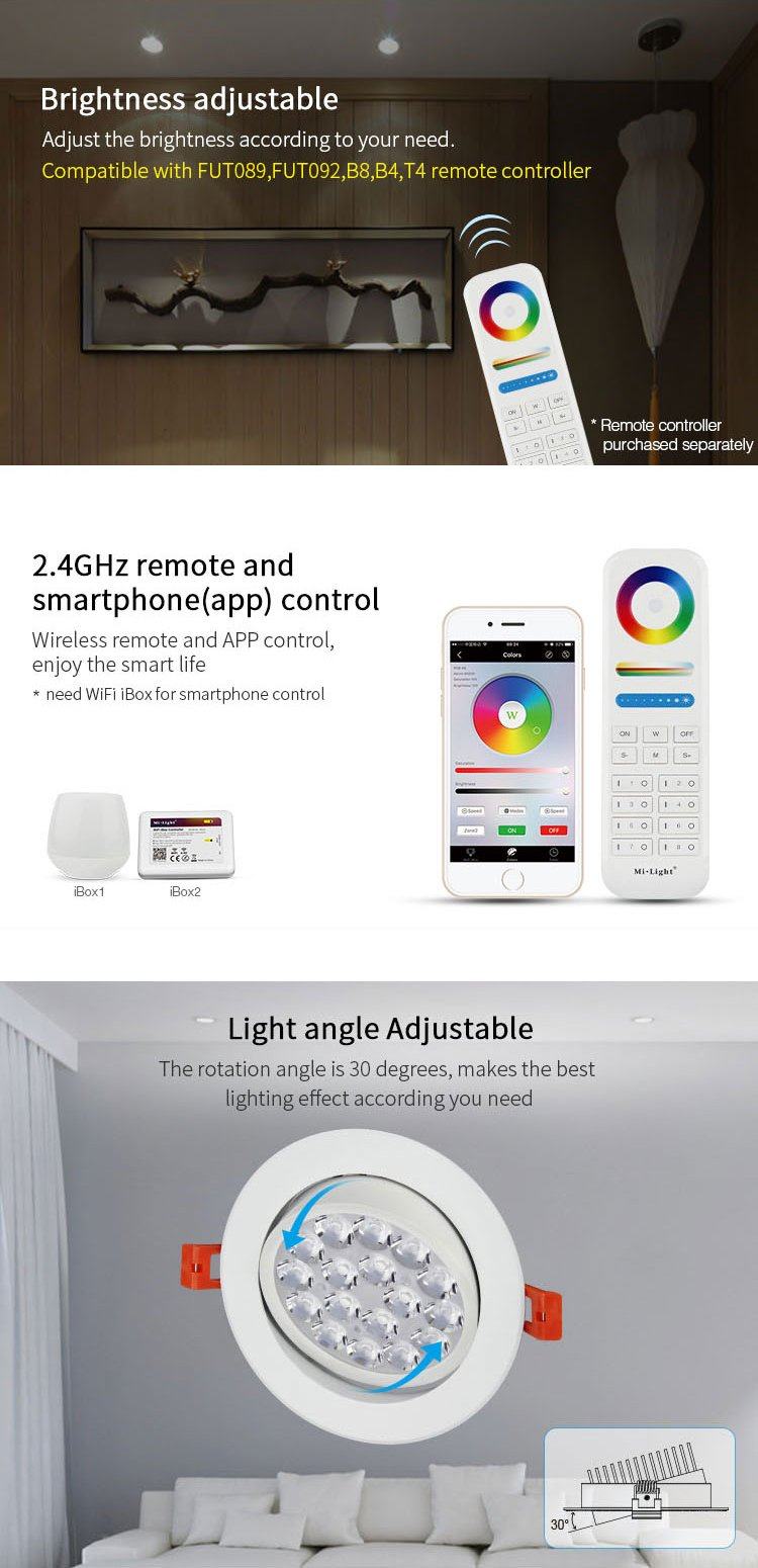 Mi.Light 9W RGBWW Recessed WiFi Led Ceiling Downlight AC110V RGB+CCT Color Changing And Temperature Adjustable Must Work With Remote(Not Included) And Smartphone APP Control Via iBox Hub((Not Include) by LGIDTECH (Image #4)