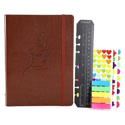 YHH A5 Libretas Bonitas Tapa Dura Cuaderno Rayas con Bolsillo Elástica Diario de Viaje Vintage Cuero Organizador Anilla Ruled Journal Notebook Bloc ...