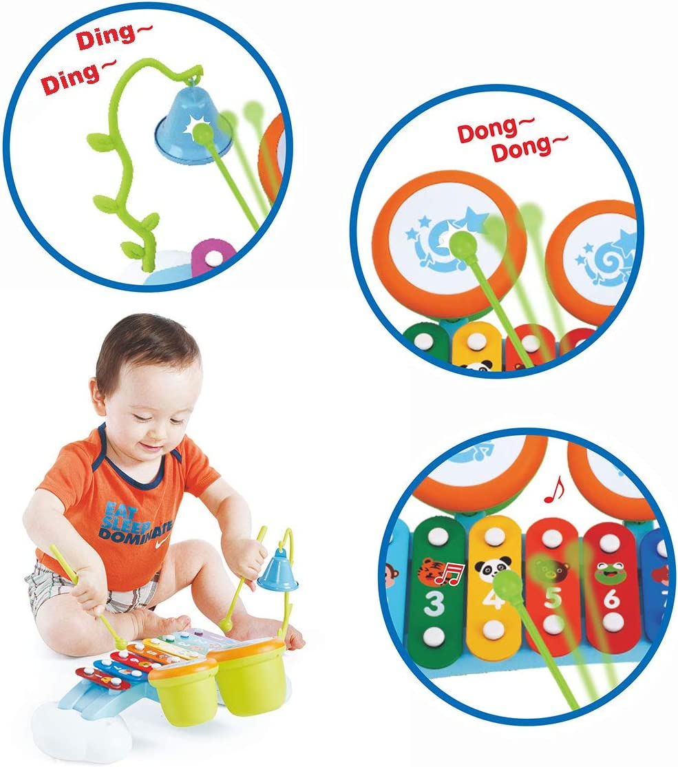 Perfectly Tuned Instrument Early Learning Birthday Gift for Child Boys Girls HOLA Baby Musical Instruments Toys for Toddlers 1-3 Kids Xylophone and Drum Set with Music Cards /& Infant Safe Mallets