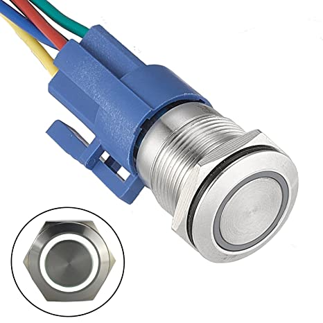 Blue API-ELE 3 year warranty 22mm Latching Push Button Switch 7//8 12V DC Power Symbol Angel Eye Halo with Switch Socket plug 1NO1NC SPDT ON//OFF with LED Ring