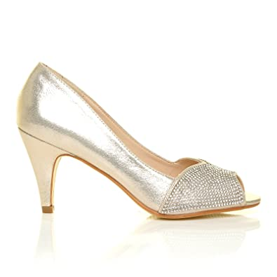 June Champagne Gold Shimmer Diamante Peep Toe Mid Heel Wedding Court ...