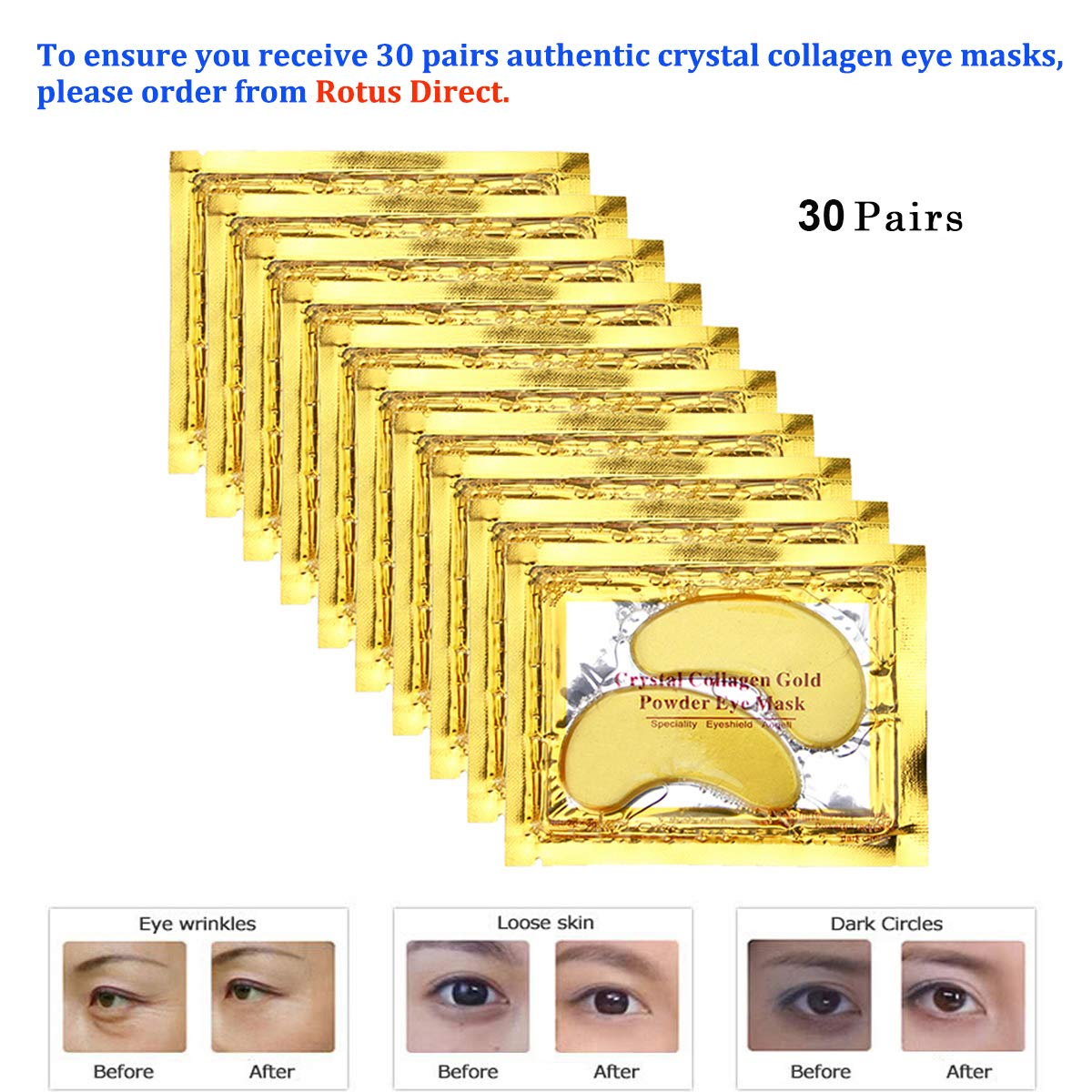 Rotus Gold Eye Mask Power Crystal Gel Collagen Masks, Great For Anti Aging, Dark Circles & Puffiness, 30 Pairs