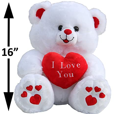 Amazon large i love you white and red teddy bear 16 tall toys large i love you white and red teddy bear 16quot altavistaventures Images