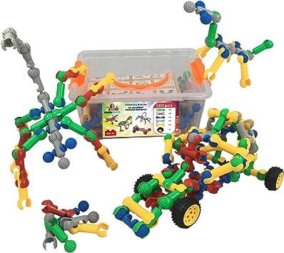 Bloques de construcción│ 160 pzs (palos con mandíbula y articulación esférica + ruedas de coche)