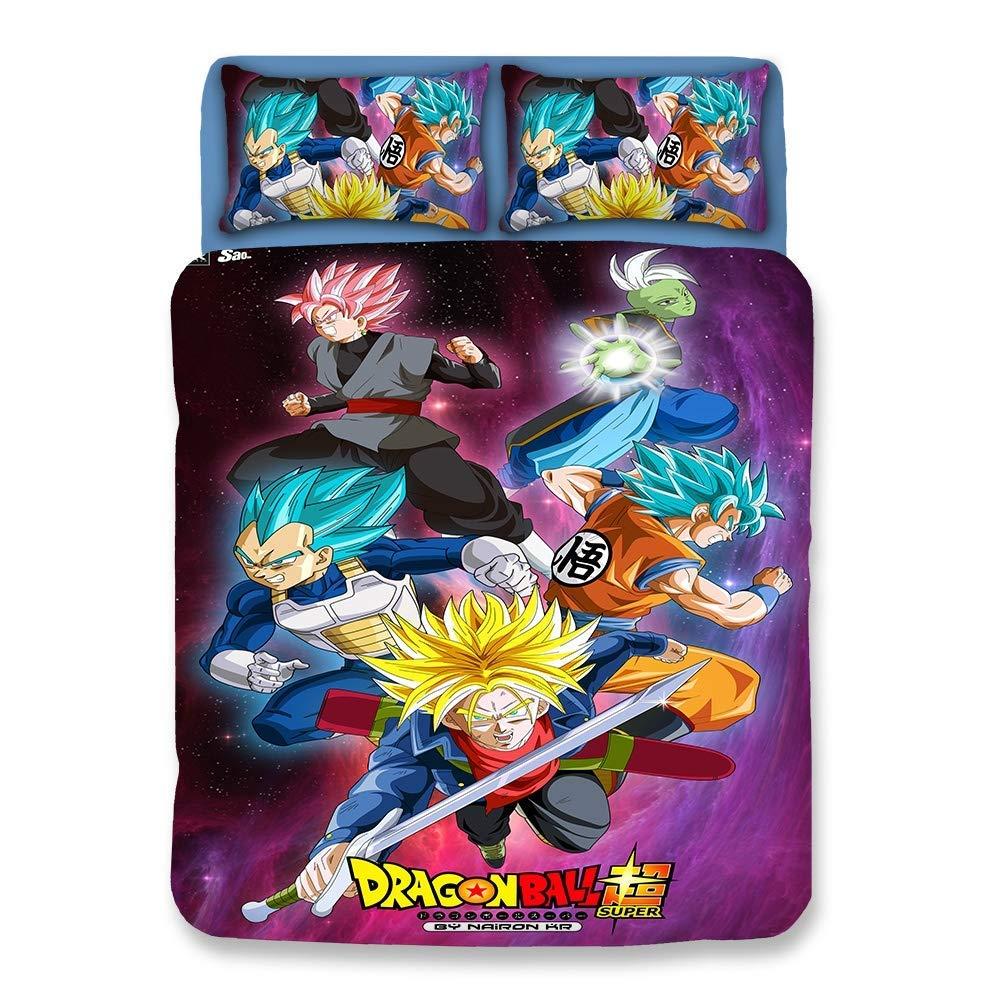 3D Dragonball Z Goku Microfibra 3 Piezas Juego de Funda nórdica ...