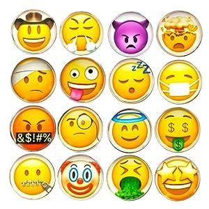 DMIDEA 16 Pcs Refrigerator Magnets 3D Emoji Fridge WhiteBoard Cute Dry Erase Board Magnetic Lockers for School Home Office Kitchen Decorative Fun Cartoon Smile Face Gift (Smile)