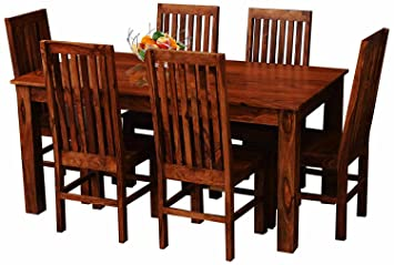 Aprodz Sheesham Wood Tulsa 6 Seater Dining Table Set For Home Dining Furniture Brown Finish Amazon In Home Kitchen