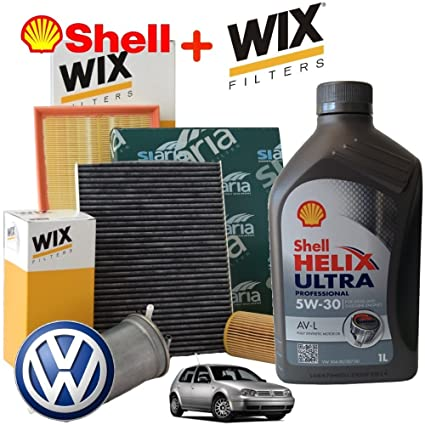 Kit Hoja Aceite SHELL HELIX 5W30 5LT 4 Filtros WIX VW GOLF 4 ...