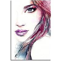 Paul Sinus Art Quadro – Viso Astratto di Donna in tonalità Rosso e Blu.