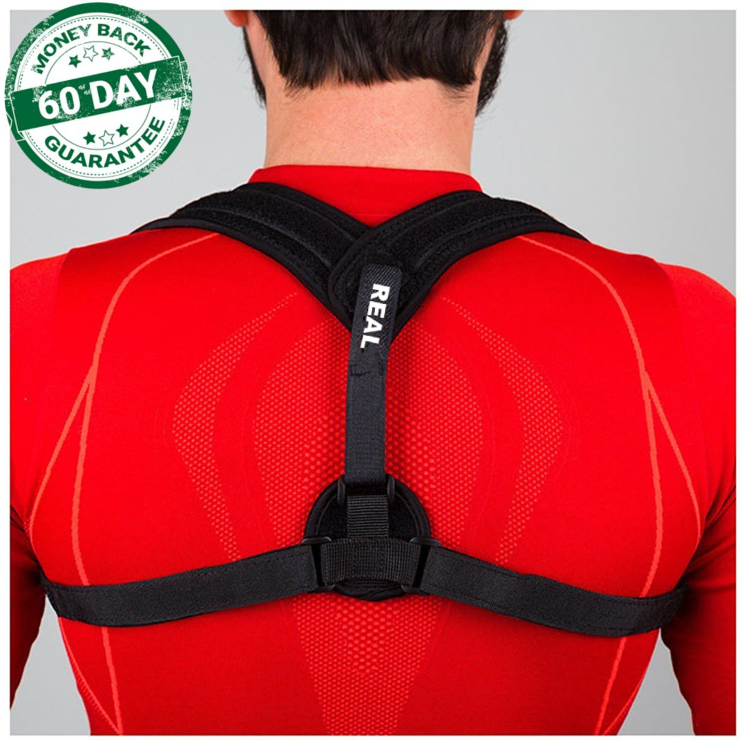 Real Wellness Posture Corrector for Men & Women - Care Effective Posture Corrector for Slouching and Hunching - Clavicle Support for Medical Problems and Injury Rehab - Extra Discreet Hidden Design