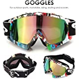 Motocross Goggles, AUDEW Motorcycle Bike Motorbike Skiing Ski Snow SnowBoard Dirt Bike Riding Cycling Off road Goggles Eyewear Accessories Wind Dust Protection Windproof Winter Sport Outdoors Transparent lens Glasses QL037 Multicolor