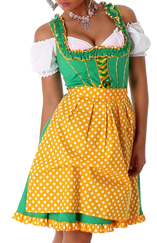 Dirndl Damenkleid 3teiliges Set aus Kleid, Bluse und Schürze