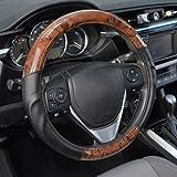 ACDelco Steering Wheel Cover Two Tone Synthetic Leather Black Comfort Grip & Dark Wood (Burlwood)