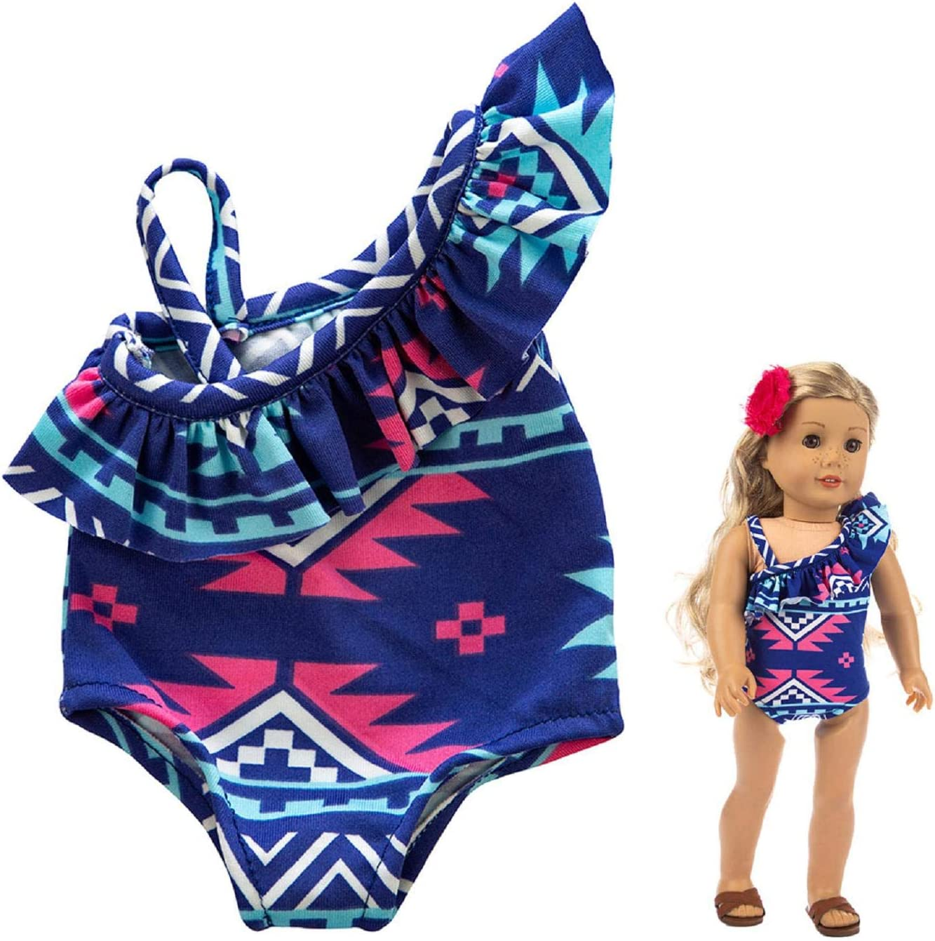 Putars Cute One-piece Swimsuit Clothes Girl Toy For 18 inch Doll Accessory Girls Toy,Swimsuit Digital Print Moana Adventure Bikini with Necklace and Flower,Birthday Gift for girls