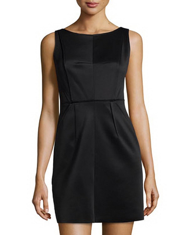 MILLY Womens Seamed Detail Neoprene V Back Shift Dress Sz 4 Black 200468E