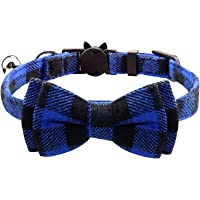 Cat Collar with Bow Tie and Bell, Kitty Kitten Collar Collar Breakaway for Cat Puppy & Small Dogs(1 Pack) (Blue + Black)