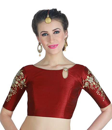 0902665ae4bd56 STUDIO SHRINGAAR WOMEN S POLY RAW SILK MAROON READYMADE SAREE BLOUSE WITH  SLEEVES EMBROIDERY ...