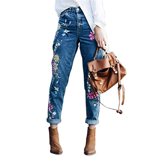 04d21a92430 Mofgr Plus Size Flower Embroidery Jeans High Waist Jeans Pants Spring  Summer Women Bottom Jeans Blue