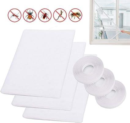 Lot de 3 moustiquaires anti-insectes pour fen/êtres avec 4 rouleaux de rubans autocollants moustiquaire moustiquaire kit de protection 1,5 m x 1,3 m Blanc