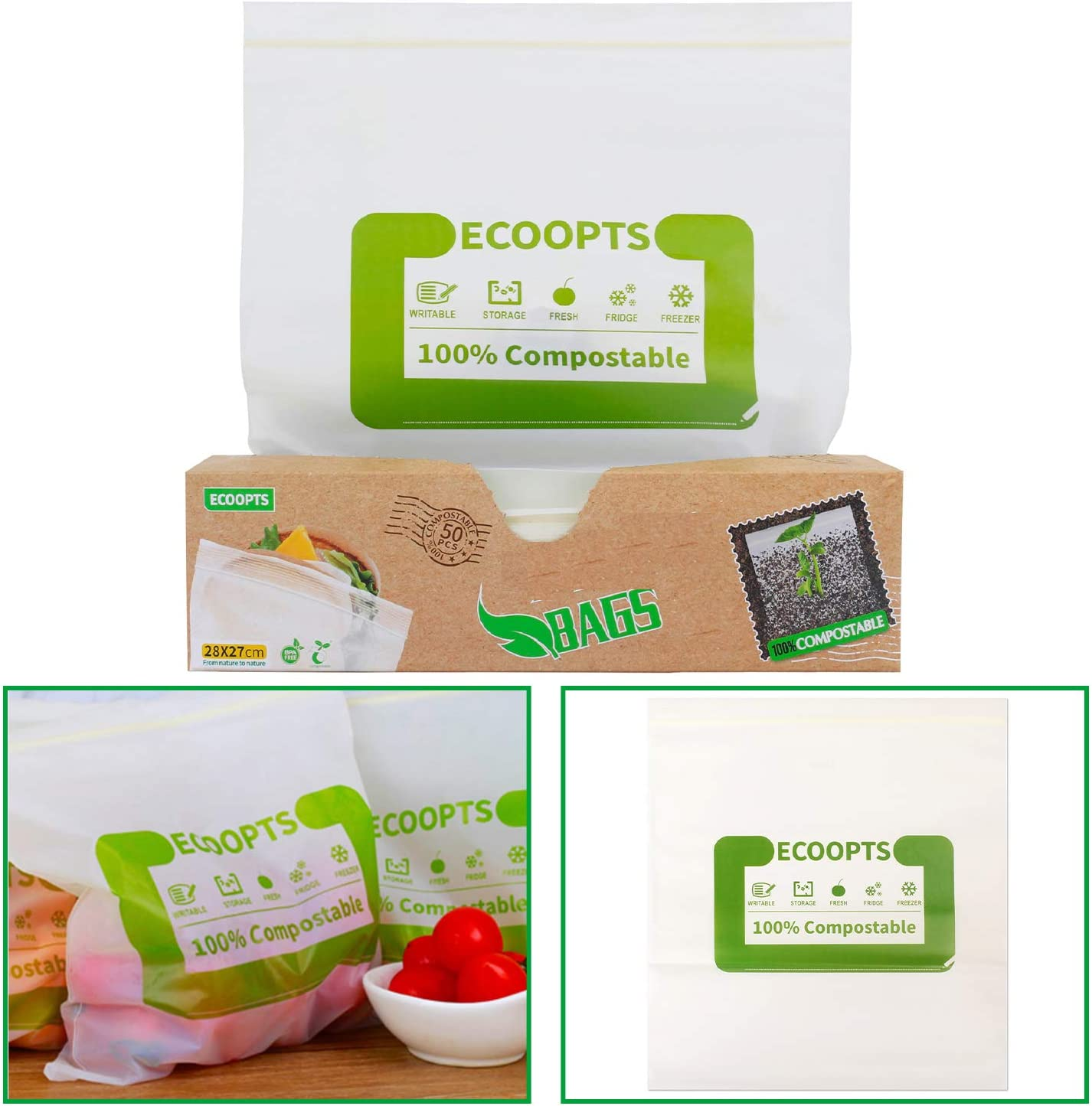50 Count ECOOPTS 100% Compostable Freezer Bags Reusable Food Storage Sandwich Bags Large Sizer For Food Organization and Storage - (11×10.7 IN/Count)