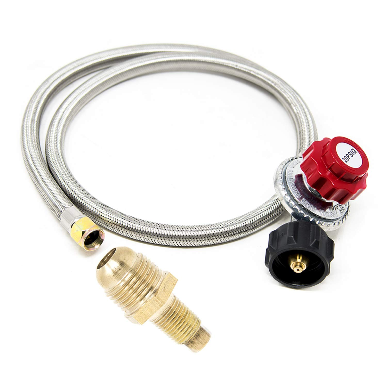 GasOne - Propane Regulator and Propane Brass Orifice - Steel Braided Hose - 4 ft High Pressure Propane 0-20 PSI Adjustable Propane Regulator with Hose QCC-1 Type - CSA Certified
