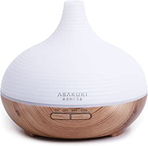 ASAKUKI 300ML Essential Oil Diffuser, Quiet 5-in-1 Humidifier, Natural Home Fragrance Diffuser with 7 LED Color Changing Light and Waterless Auto-Off Function