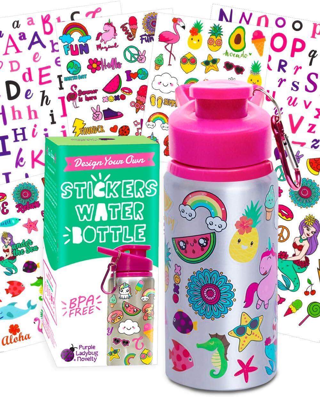 Purple Ladybug Decora tu Propia Botella Agua para Niñas con Montones de Pegatinas Infantiles – Botella sin BPA 560 ml – Regalos Originales para Niños de Todas Las Edades – Set de Manualidades Niños