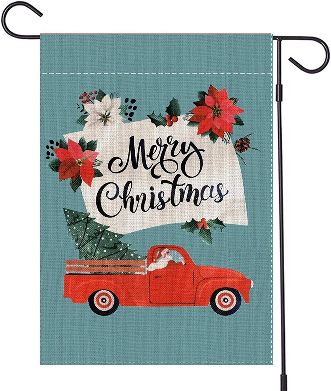 TGOOD Merry Christmas Garden Flag Winter Outdoor Decorations Banner,Durable Burlap-Double Sided Santa Driving Red Truck Christmas Tree,House Yard Xmas Holiday Party Sign-Seasonal Flag 12.5x18 inch