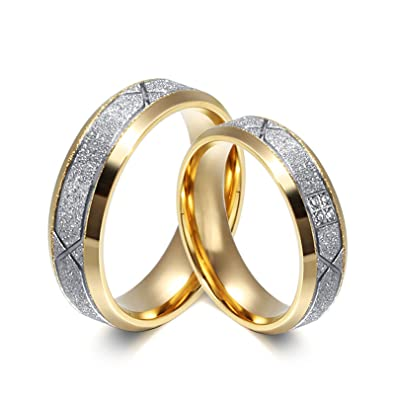 AnaZoz Stainless Steel Couple Ring Set 6MM Silver Sand Wedding Engagement Rings Women Size 5 &