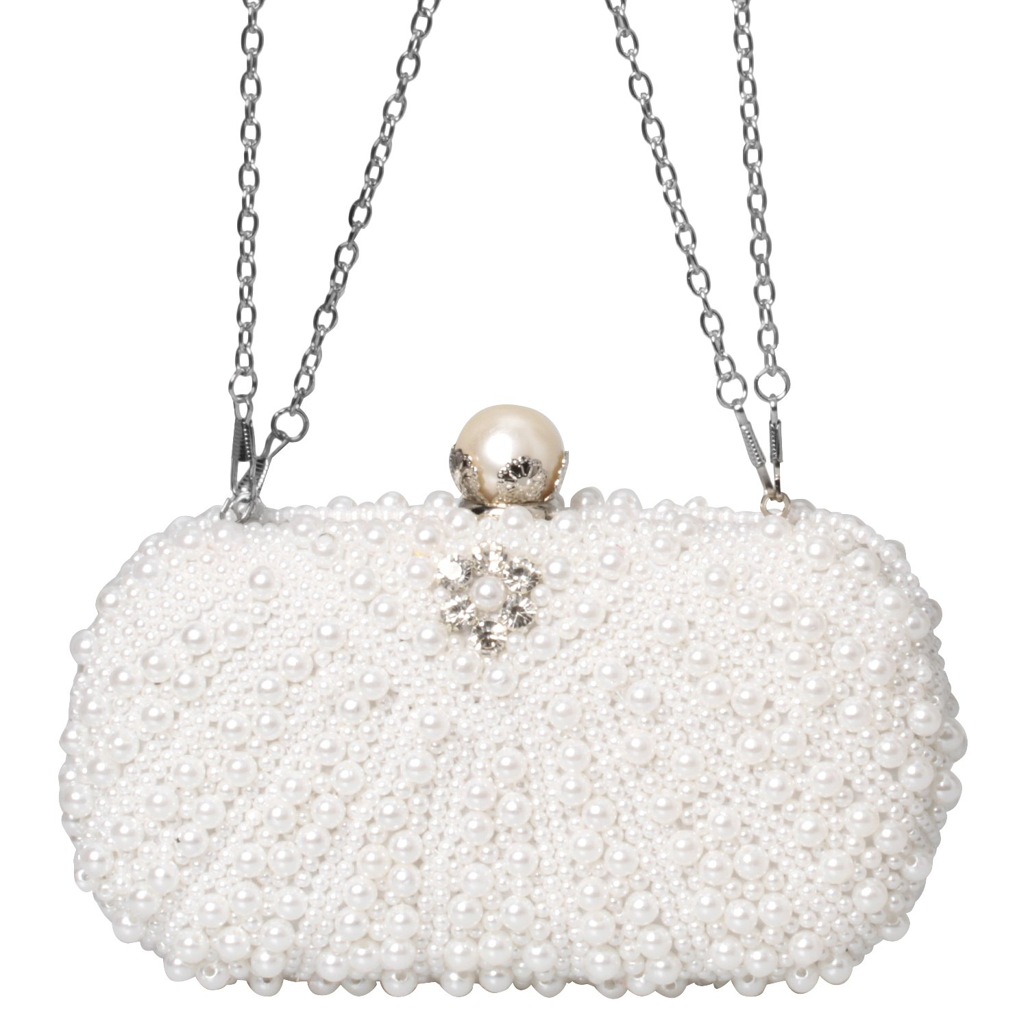Beads Crystal Rhinestone Evening Clutch Bag Envelope Fashion Purse Women Handbags (Ivory)