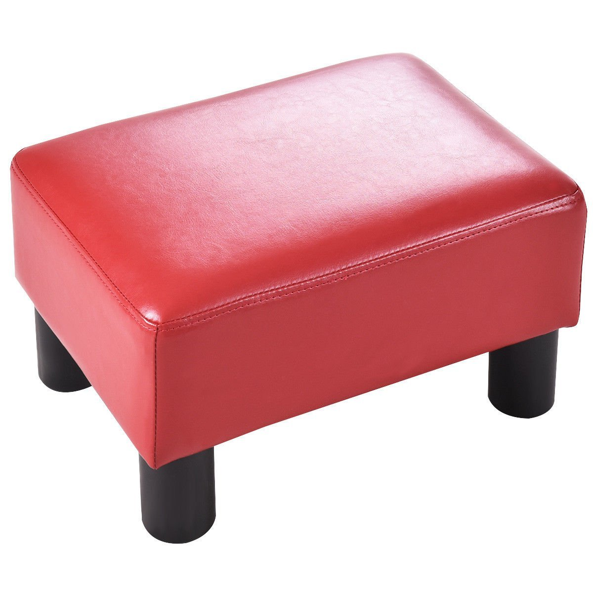 Giantex PU Leather Footstool Small Ottoman Rectangular Seat Stool with Plastic Wood Legs, Red
