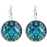 Créative Perles - Boucles d'oreilles Cabochon rond jardin d'hiver - Bleu