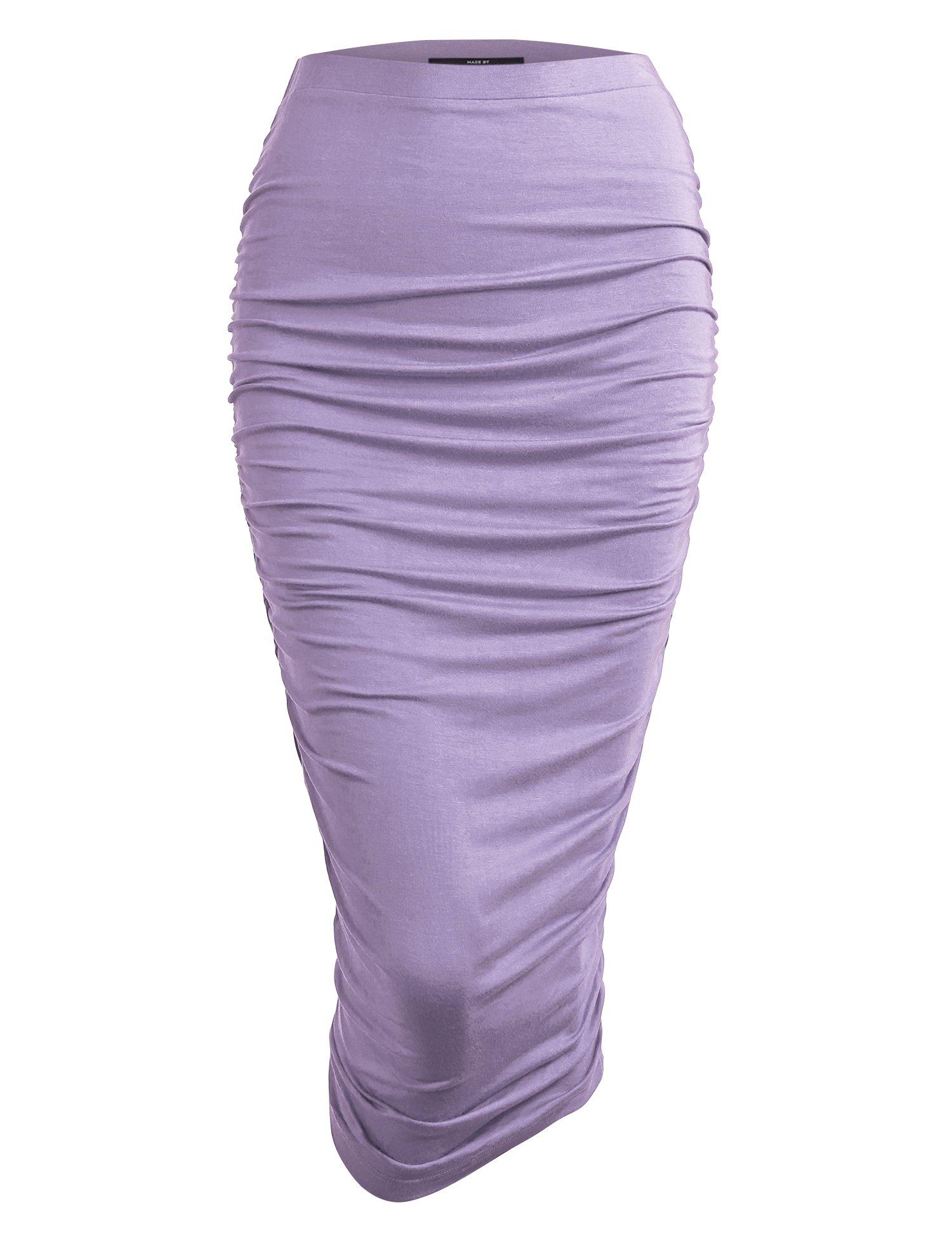 Made By Johnny WB1147 Womens Elegant High Waist Pencil Skirt Side Shirring M Lilac