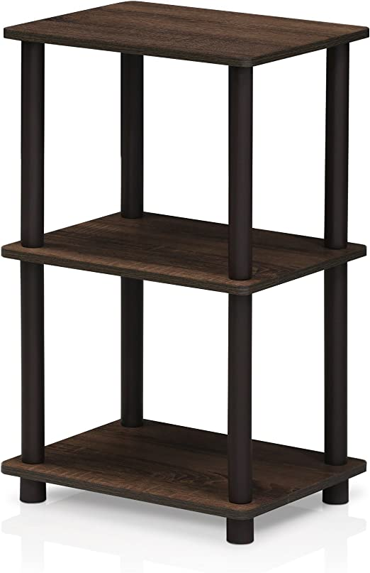 Furinno Turn N Tube 2 Space Shelf Walnut Brown Furniture Decor