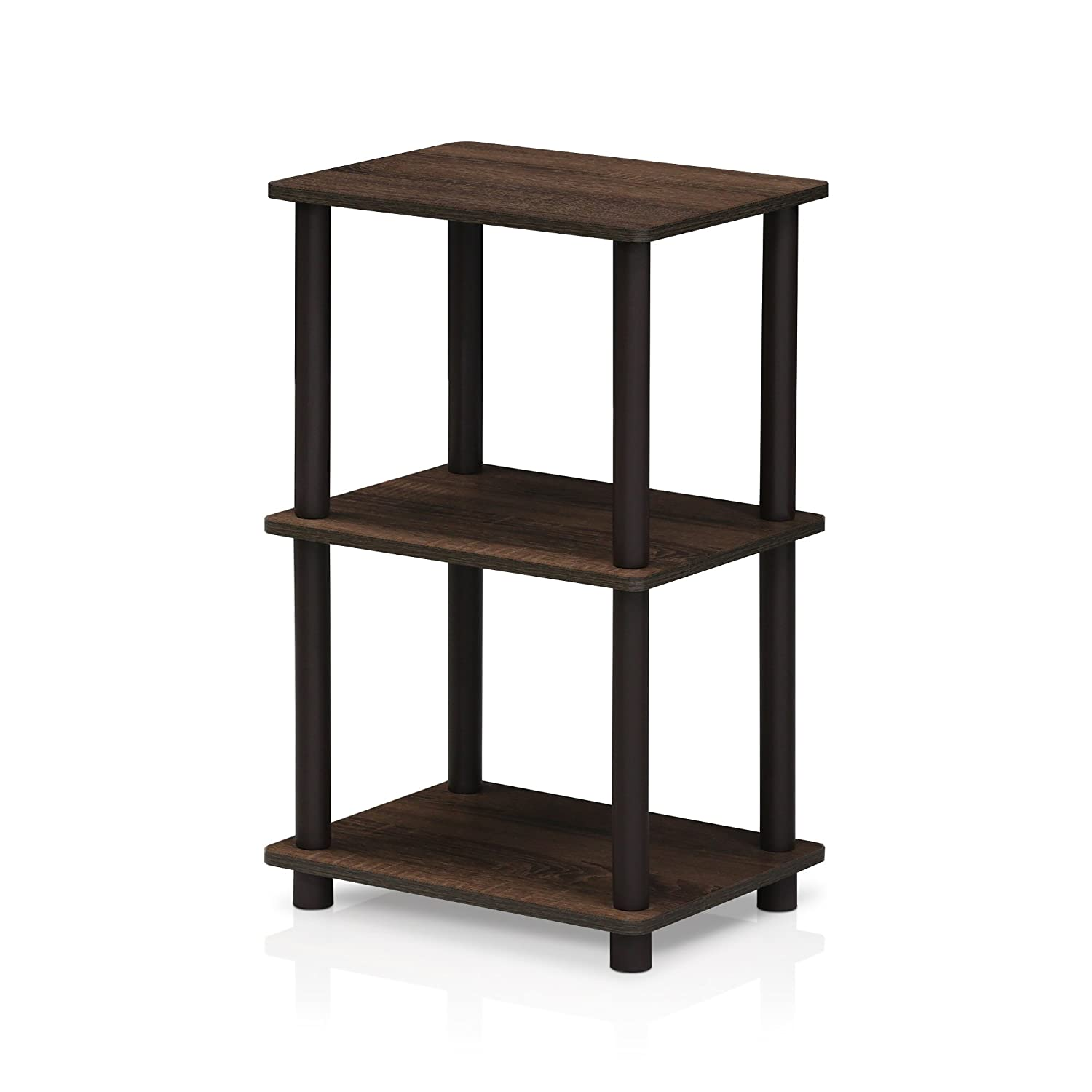 Furinno 16101WN/BR Turn-N-Tube 2 Space Shelf, Walnut/Brown