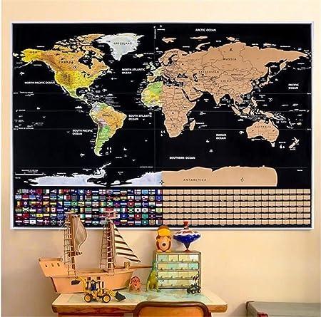 Marbeine Mapa del mundo para rascar, incluye banderas de todos los Países, para viajeros, 82 x 59 cm: Amazon.es: Hogar