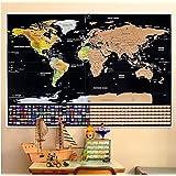 Mapa Mundi Rascar en Español de 84 x 58cm con Juego Interactivo de Puntos y Retos y 7 Niveles Diferentes   Mapa Rascar con Utensilios de Rayado, Pegatinas y demás   Scratch