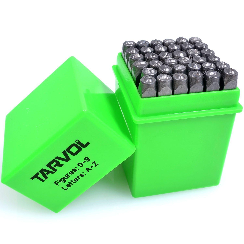 Number and Letter Stamp Set (36 Piece Punch Set/AZ & 0-9) Industrial Grade  Hardened Carbon Steel Metal - 1/8