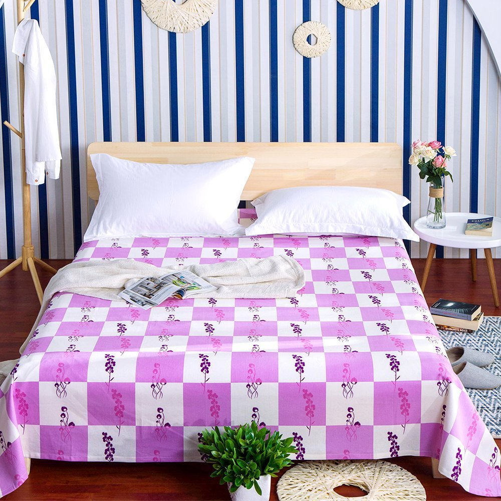 Hemp Sheet Bedding Set, 55% Hemp 45% Cotton with Pink Square Pattern Sheet, Luxury Bedding Collection, Bedroom Linen Set By Oasis