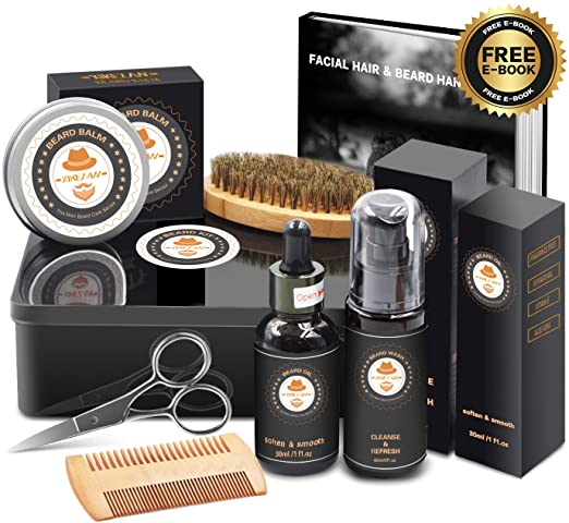 Best Top Deal Beard Growth Grooming Care Kit w/METAL GIFT BOX,Beard Shampoo/Wash,Unscented Beard Conditioner Oil,Beard Balm,Brush,Comb,Scissor,Unique Gag Boyfriend Gifts for Men