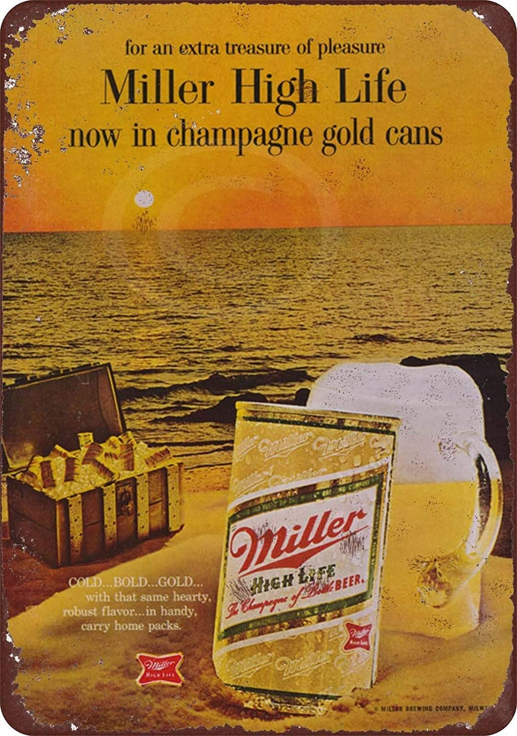 Metal Signs Vintage, Signs for Home Room Man Cave Cafe 1968 Miller High Life in Cans Novelty Wall Decor Tin Sign 8 x 12