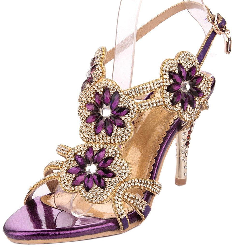 Women's Glitter Faux Jewel Grape Rosette Strappy High-Heel Dress Sandals - DeluxeAdultCostumes.com