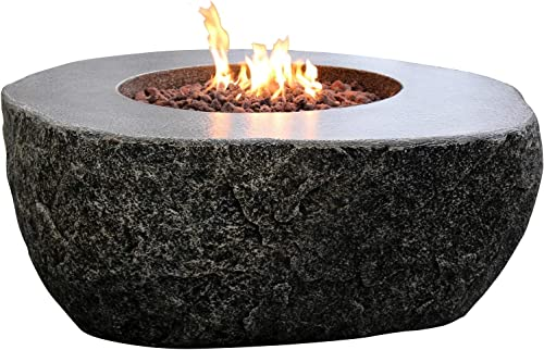 Elementi Outdoor Fiery Rock Fire Pit Table 50 x 42 Inches Grey Durable Glass Reinforced Concrete Square Fireplace Includes Burner Lava Rock Canvas Cover – Natural Gas